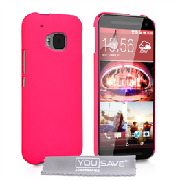 Yousave Accessories HTC ONE M9 Hard Hybrid Case - Hot Pink