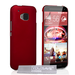 Yousave Accessories HTC ONE M9 Hard Hybrid Case - Red