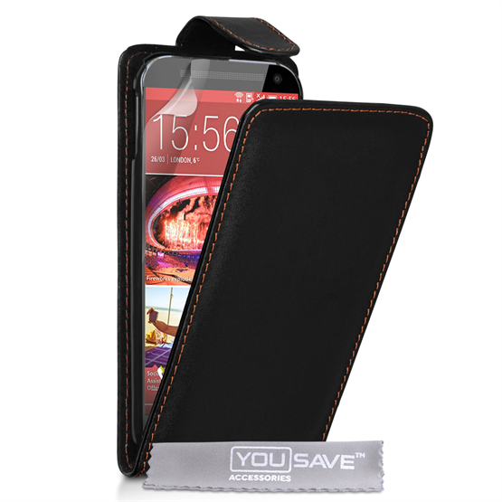 Yousave Accessories HTC ONE M9 Leather-Effect Flip Case - Black