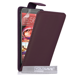 Yousave Accessories HTC ONE M9 Leather-Effect Flip Case - Purple