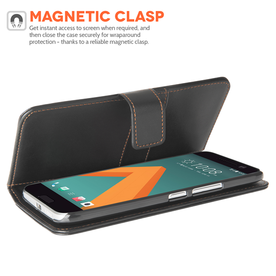 YouSave HTC 10 Leather-Effect Wallet Case - Black