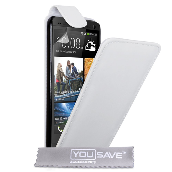 Yousave Accessories HTC One M7 PU Flip White Case