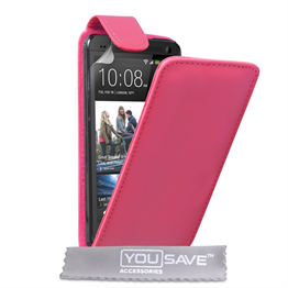 Yousave Accessories HTC One M7 Trade PU Flip Hot Pink Case