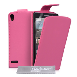 Yousave Accessories Huawei Ascend P6 PU Flip Hot Pink Case