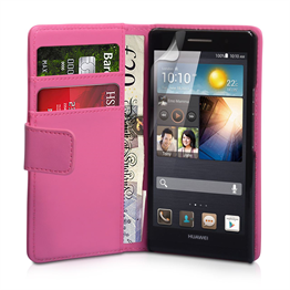 Yousave Accessories Huawei Ascend P6 PU Wallet Hot Pink Case