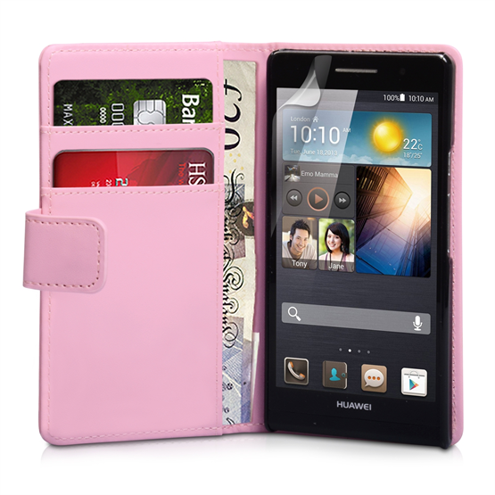 Yousave Accessories Huawei Ascend P6 PU Wallet Baby Pink Case