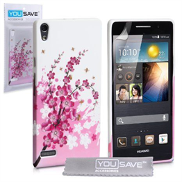 Yousave Accessories Huawei Ascend P6 Floral Bee Pink Case