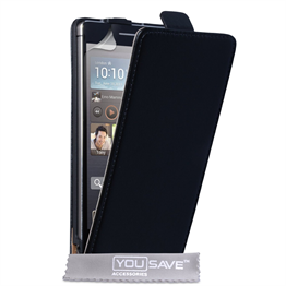 Yousave Accessories Huawei Ascend P6 Real Leather Flip Black Case
