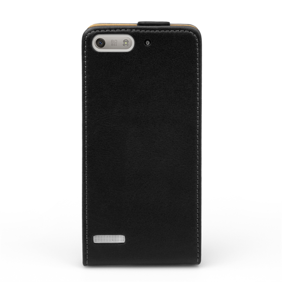 Yousave Accessories Huawei Ascend G6 Real Leather Flip Black Case