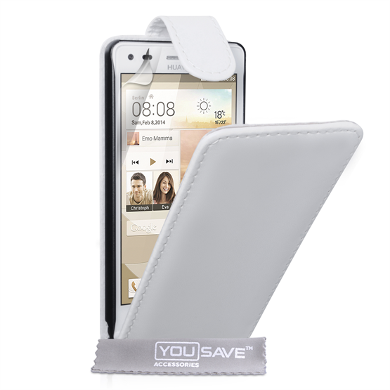 Yousave Accessories Huawei Ascend G6 Leather-Effect Flip Case - White