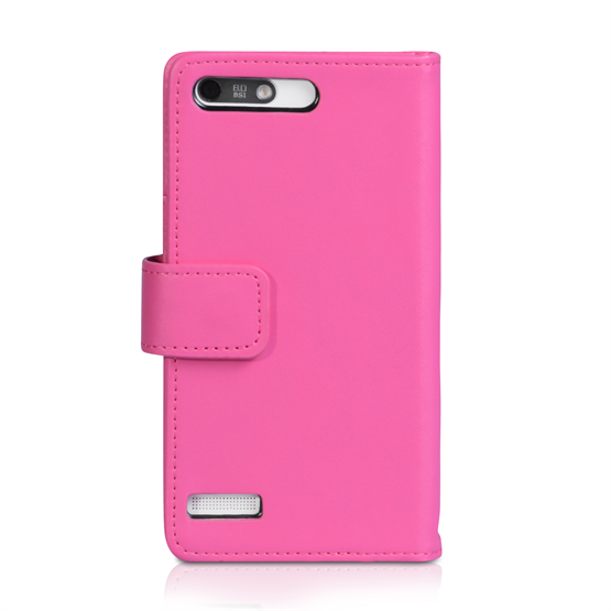 Yousave Accessories Huawei Ascend G6 Leather-Effect Wallet Case - Hot Pink