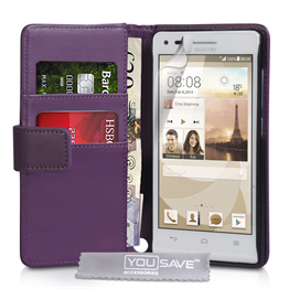 Yousave Accessories Huawei Ascend G6 Leather-Effect Wallet Case - Purple
