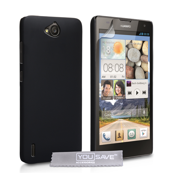 Yousave Accessories Huawei Ascend G740 Hard Hybrid Case - Black