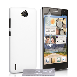 Yousave Accessories Huawei Ascend G740 Hard Hybrid Case - White