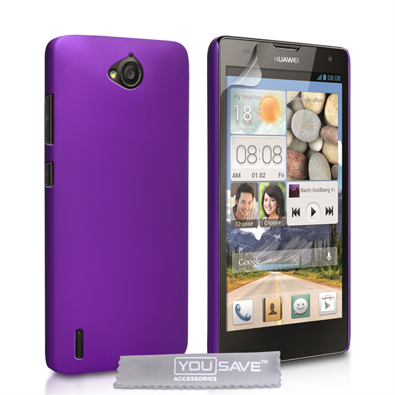 Yousave Accessories Huawei Ascend G740 Hard Hybrid Case - Purple