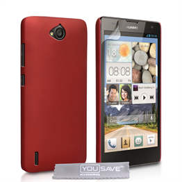 Yousave Accessories Huawei Ascend G740 Hard Hybrid Case - Red