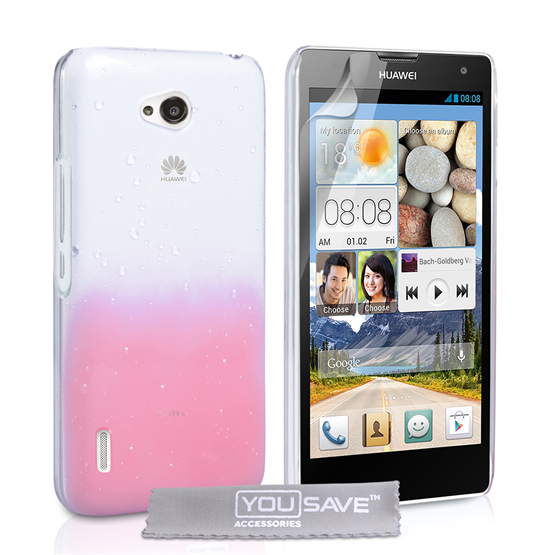 Yousave Accessories Huawei Ascend G740 Raindrop Hard Case - Baby Pink-Clear