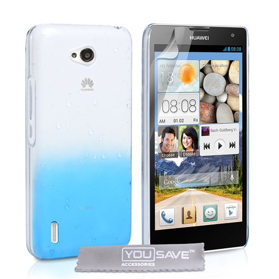 Yousave Accessories Huawei Ascend G740 Raindrop Hard Case - Blue-Clear