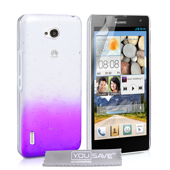 Yousave Accessories Huawei Ascend G740 Raindrop Hard Case - Purple-Clear