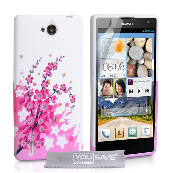 Yousave Accessories Huawei Ascend G740 Floral Bee Silicone Gel Case