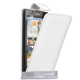 Yousave Accessories Huawei Ascend G740 Leather-Effect Flip Case - White