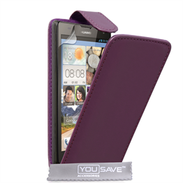Yousave Accessories Huawei Ascend G740 Leather-Effect Flip Case - Purple