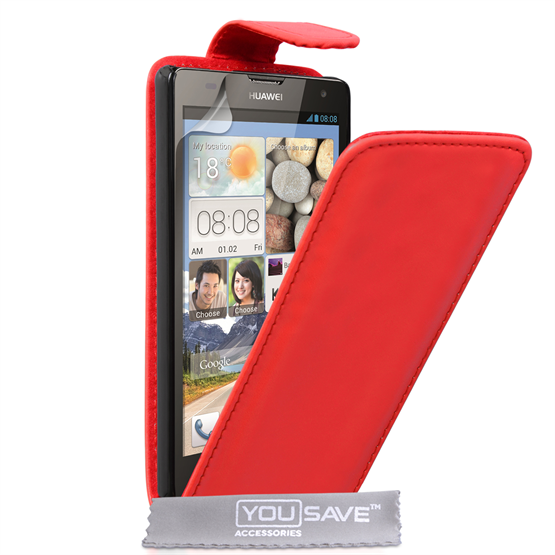 Yousave Accessories Huawei Ascend G740 Leather-Effect Flip Case - Red