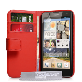 Yousave Accessories Huawei Ascend G740 Leather-Effect Wallet Case - Red