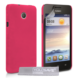 Yousave Accessories Huawei Ascend Y330 Hard Hybrid Case - Hot Pink