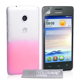 Yousave Accessories Huawei Ascend Y330 Raindrop Hard Case - Baby Pink-Clear