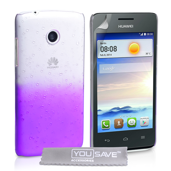 Yousave Accessories Huawei Ascend Y330 Raindrop Hard Case - Purple-Clear