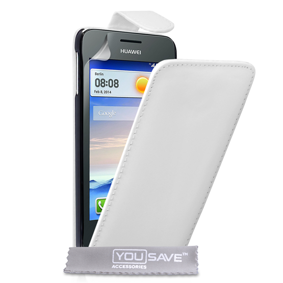 Yousave Accessories Huawei Ascend Y330 Leather-Effect Flip Case - White