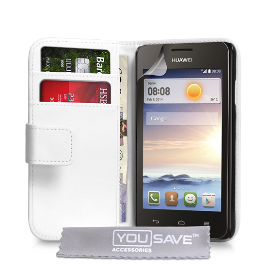 Yousave Accessories Huawei Ascend Y330 Leather-Effect Wallet Case - White