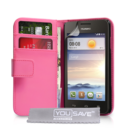 Yousave Accessories Huawei Ascend Y330 Leather-Effect Wallet Case - Hot Pink