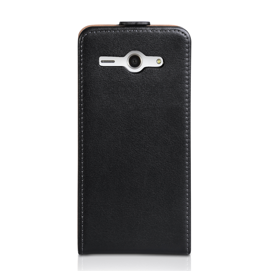 Yousave Accessories Huawei Ascend Y530 Real Leather Flip Black Case