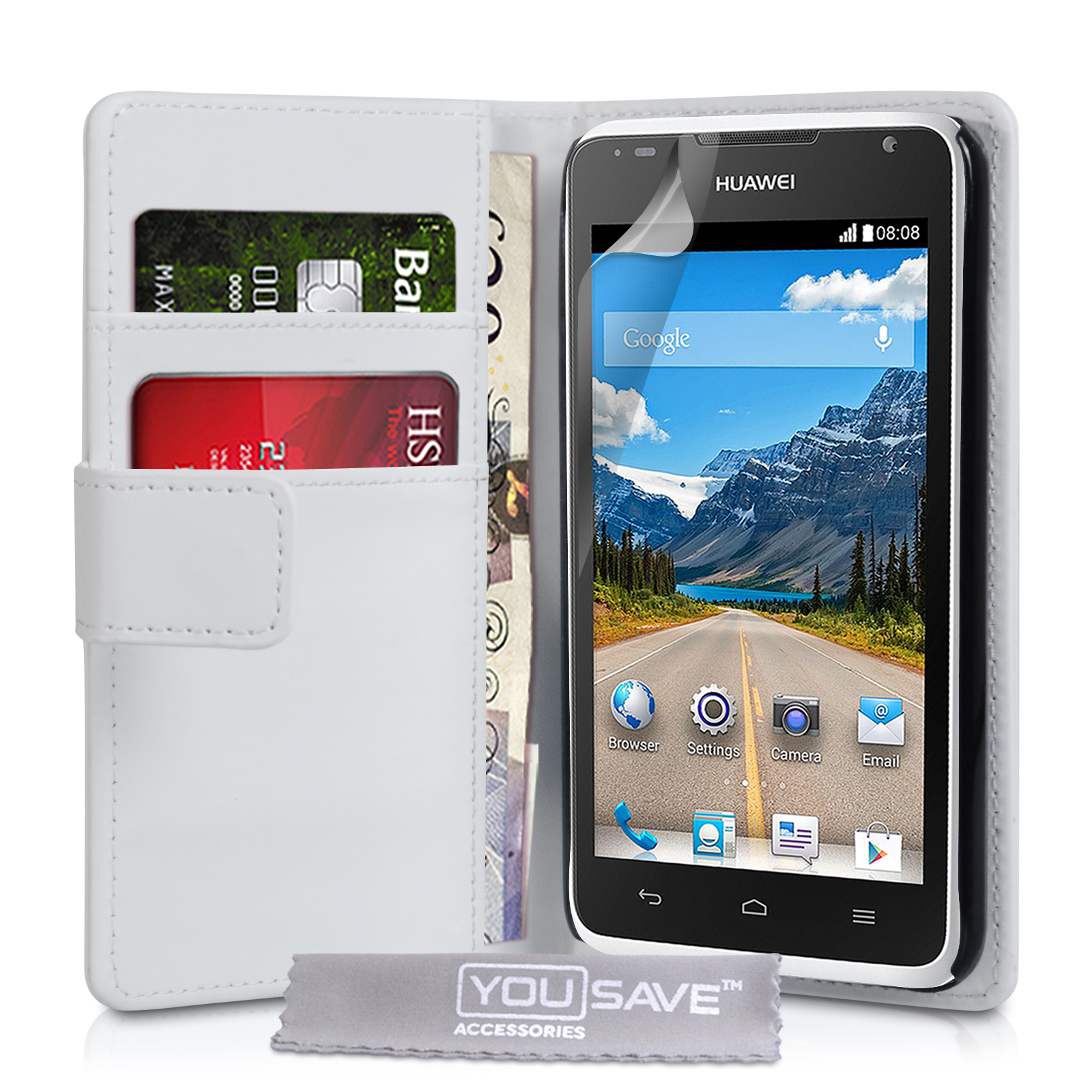 YouSave Accessories Huawei Ascend Y530 Leather Effect Wallet