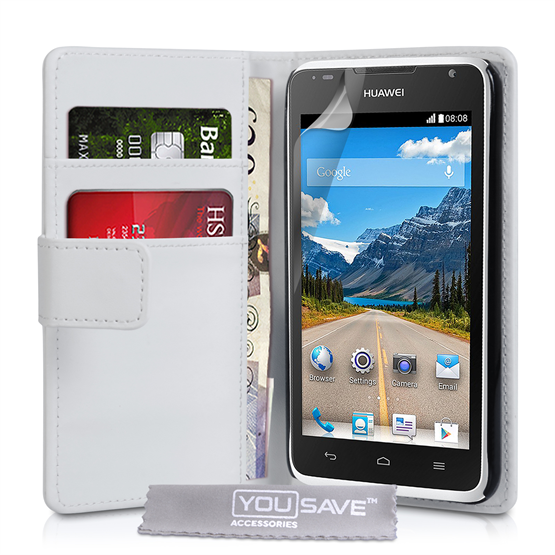 Yousave Accessories Huawei Ascend Y530 Leather-Effect Wallet Case - White