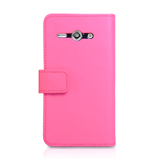 Yousave Accessories Huawei Ascend Y530 Leather-Effect Wallet Case - Hot Pink