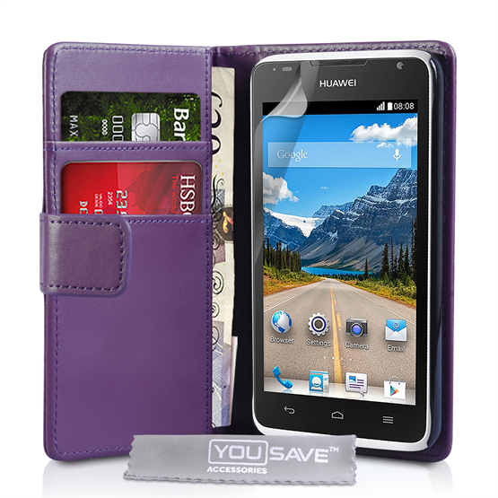 Yousave Accessories Huawei Ascend Y530 Leather-Effect Wallet Case - Purple