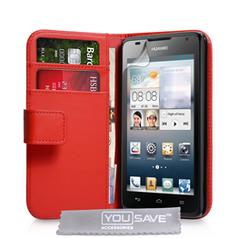 Yousave Accessories Huawei Ascend Y530 Leather-Effect Wallet Case - Red