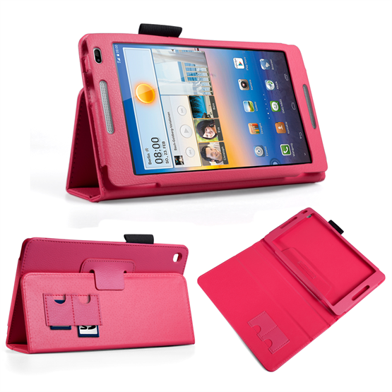 Yousave Accessories Huawei Mediapad M1 Pu Stand Hot Pink Case