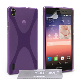 Yousave Accessories Huawei Ascend P7 Silicone Gel X-Line Case - Purple
