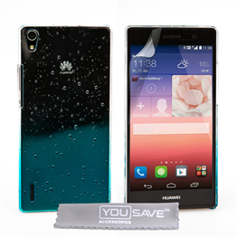 Yousave Accessories Huawei Ascend P7 Raindrop Hard Case - Blue-Clear