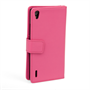 Yousave Accessories Huawei Ascend P7 Leather-Effect Wallet Case - Hot Pink