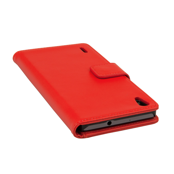Yousave Accessories Huawei Ascend P7 Leather-Effect Wallet Case - Red