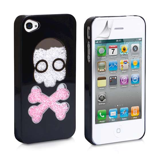 YouSave Accessories Skull Glitter Hard Cover for iPhone 4/4S - Black