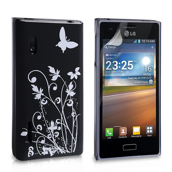 Yousave Accessories LG L5 Floral Butterfly Hard Case - Black/Silver