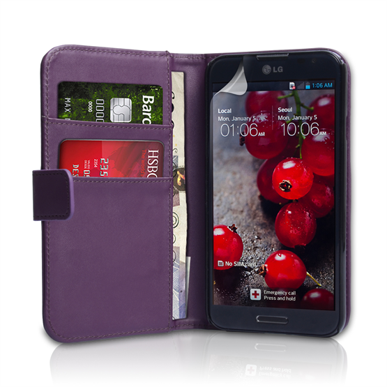 Yousave Accessories LG Optimus G Pro Leather-Effect Wallet Case - Purple