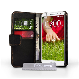 Yousave Accessories LG G2 PU Wallet Black Case
