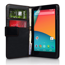 Yousave Accessories Google Nexus 5 Leather-Effect Wallet Case - Black